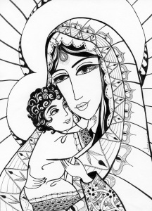 """Madonna and Child as Indians"" by Karen Zainal."