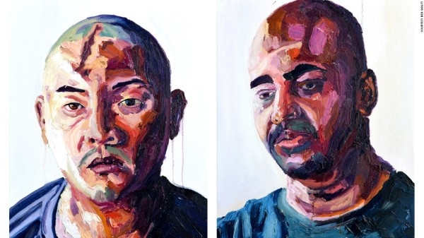 Myuran Sukumaran, who runs art classes for inmates, painted these portraits of Andrew Chan (left) and himself.